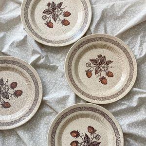 Set of 4 Vintage Speckled Strawberry Dining Plates